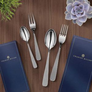 CHARLES MILLEN Signature Cutlery FABIOLA Dining & Tea Set Stainless Steel Mirror Finish with Sandblasted Handle