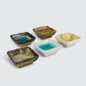 TSURU Japanese Tableware 5pc Oval Sauce Dish Set