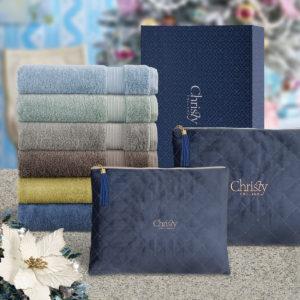 CHRISTY 100% Combed Cotton Bath/Sports Bath Towel with Navy Velvet Pouch Gift Set – SANCTUARY