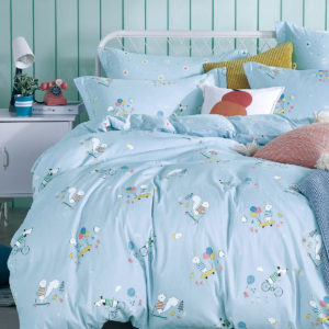 THE GANG Bed Linen 675 Thread Count Fitted Sheet Set OWEN Blue