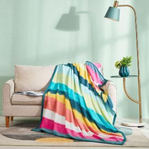 ESPRIT HOME Printed Flannel Fleece Blanket CRAYON STRIPES